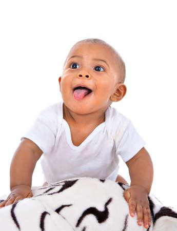 garcon africain: grande et heureuse sourire de 7 mois vieux portrait petit gar�on Banque d'images