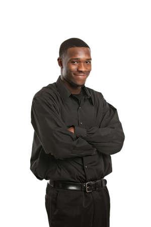 black business man: Jeune Portrait d'homme d'affaires noir, souriant isol� sur fond blanc