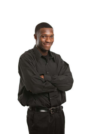 Young Black Business Man Portrait, Smiling Isolated on White Background photo
