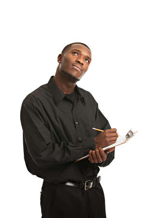 Young Thoughtful Black Man Holding Clipboard Writing, Smiling Isolated on White Background photo