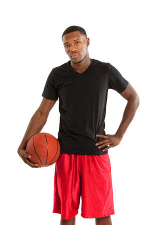 Young Black College Student Playing Basket Ball on Isolated White Background Stock Photo - 11096940