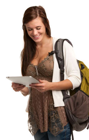 Casual Dressed High School Student Smiling Holding Touch Pad PC on Isolated Background Stock Photo - 11097046