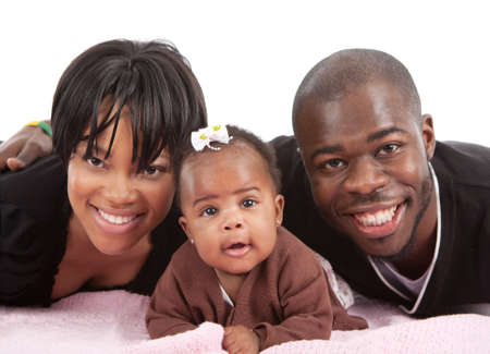 happy african: Portrait of Happy Smiling African American Family Isolated on White Background Stock Photo