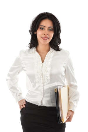 working dress: Smiling Young Hispanic Businesswoman Holding Paper Work on Isolated White