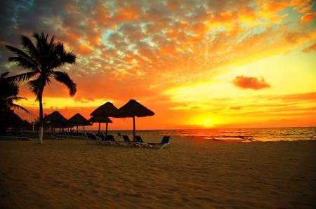 Sunset Scene bij Tropical Beach Resort Silhouet