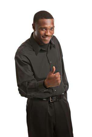 black business man: Jeune homme d'affaires noir Portrait, Sourire, pouce vers le haut, isol� sur fond blanc