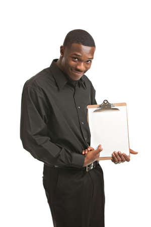Friendly young black businessman holding clipboard on isolated white background photo