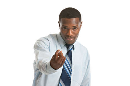 Natural Looking Smiling Young African American Businessman on Isolated Background photo