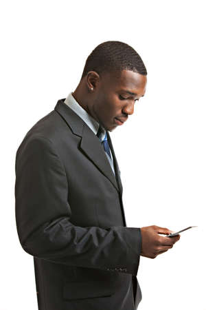 man profile: Natural Looking Young African American Male Texting on Isolated Background
