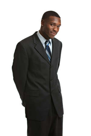 man profile: Natural Looking Smiling Young African American Male Model on Isolated Background Stock Photo