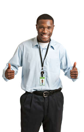 Happy Smiling African American Worker Carrying Employee Badge on Isolated White Background photo