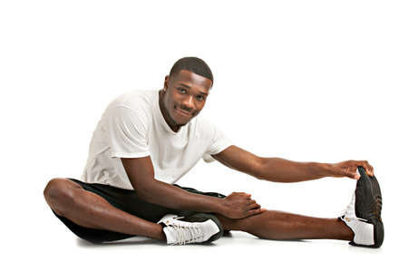Healthy Looking Happy Young African American Male Ready Workout Isolated on White Background photo