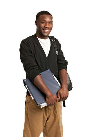 sueteres: Feliz Casual Dressed joven afroamericano estudiante de universidad Aislado sobre fondo blanco