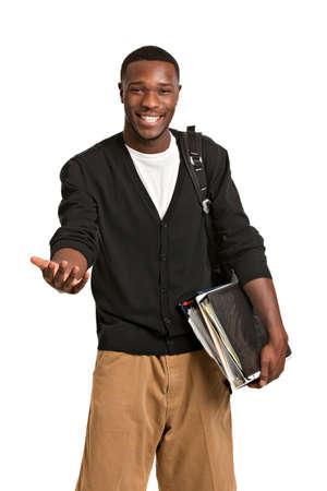 etudiant africain: Bonne casual dressed jeune �tudiant africain de l'American College Isol� sur fond blanc