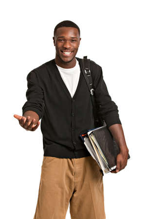 black student: Happy Casual Dressed Young African American College Student Isolated on White Background