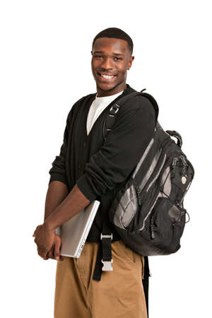 Happy African American College Student Holding Laptop on Isolated White Background photo