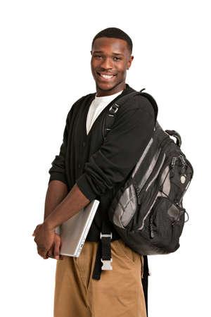 etudiant africain: Heureux African Student American College Tenir ordinateur portable sur fond blanc isol�