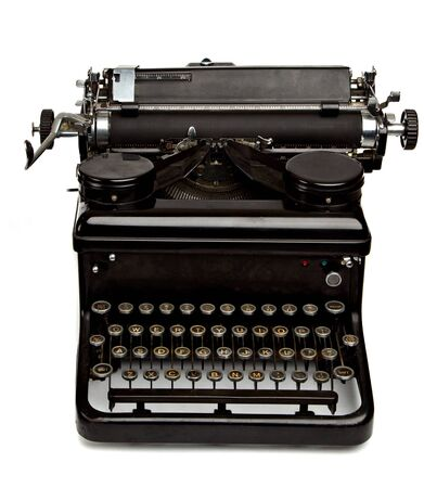 Old Style Dusty Typewriter Isolated on White Imagens