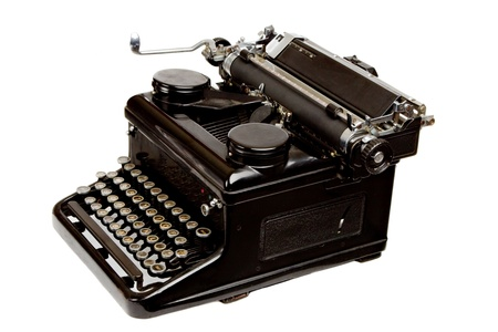 dusty: Old Style Dusty Typewriter Isolated on White Stock Photo