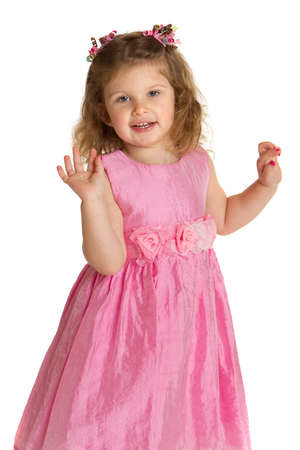 3 year old little girl with pink dress dance pose happy portrait on white background Stock Photo - 13310701
