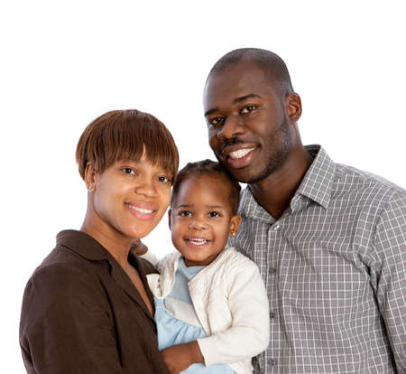 Portrait of Happy Smiling African American Family Isolated on White Background photo