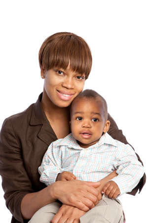 motherhood: Smiling African American Mom Holding Baby Boy Isolated on White Background