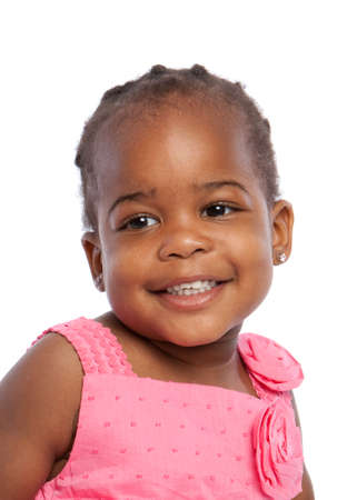 happy african: Smiling Three Years Old Adorable African American Girl Head and Shoulders Portrait on White Background
