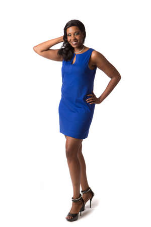 large size: Cheerful Young African American Woman Portrait on White Background Isolated