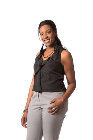 Cheerful Young African American Plus Size  Business Woman standing on White Background Isolated photo