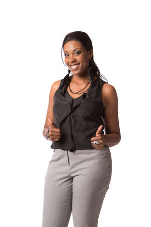 Cheerful Young African American Plus Size  Business Woman Thumbs Up Gesture on White Background Isolated photo