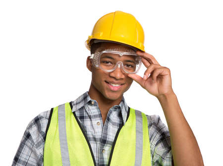 Smiling Young African American  Construction Worker Holding Hardhat Portrait Isolated Stock Photo - 14566569