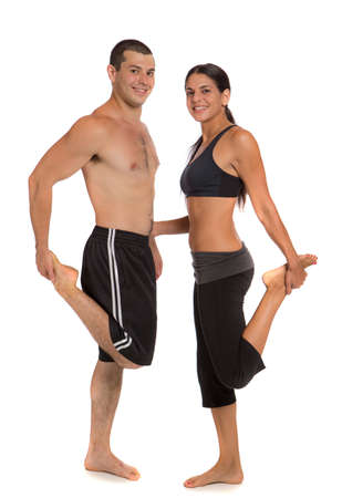 Young Healthy Looking Fit Couple Workout  Together Isolated on White Background Stock Photo - 14626495