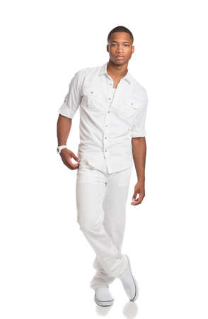 male model: Natural Looking Young African American Fashion Male Model on Isolated Background Stock Photo
