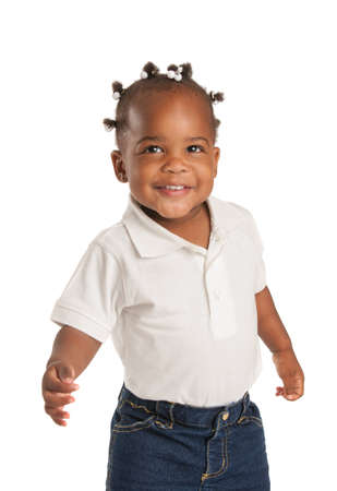 Three Years Old Adorable African American Girl with Braided Hair Wave Hand on White Background photo