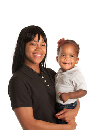 Smiling African American Mom Holding Baby Girl Isolated on White Background photo