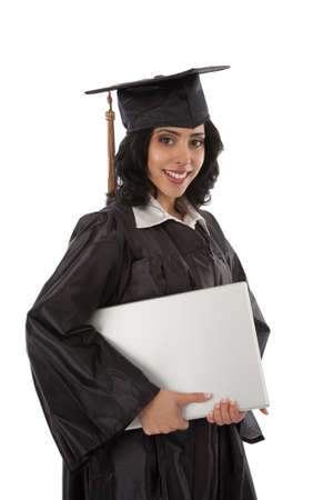 Happy Young Hispanic Graduate Student Holding Laptop on White Background photo