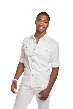 Natural Looking Smiling Young African American Male Model on Isolated Background Stock Photo
