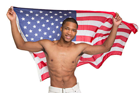 Young African American Athlete Holding American Flag Portrait on Isolated Background Stock Photo - 14745862