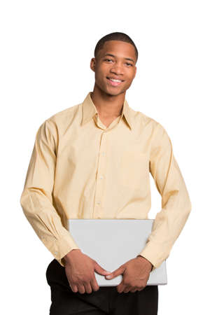 Young African American Male Holding Laptop Isolated on White Background photo