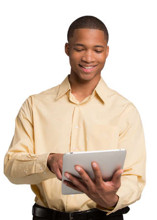 Young African American Male Texting on Touch Pad  Isolated on White Background photo