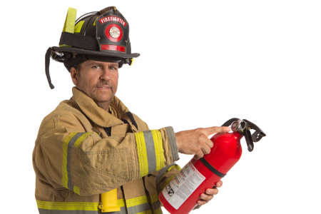 fire show: Firefighter in uniform holding fire extinguisher inspecting pressure meter on isolated white background