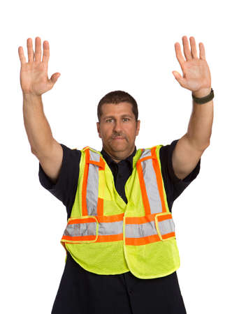 safety vest: Security Officer Wearing Safty Vest Hand Gesture Directing Traffic on Isolated Background