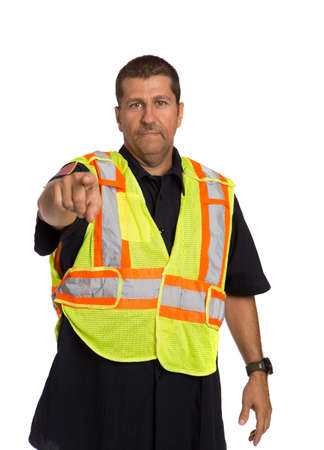 Security Officer Wearing Safty Vest Hand Gesture Directing Traffic on Isolated Background photo