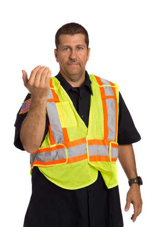 officers: Security Officer Wearing Safty Vest Hand Gesture Directing Traffic on Isolated Background