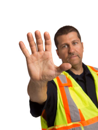 hand guard: Security Officer Wearing Safty Vest Hand Gesture Directing Traffic on Isolated Background