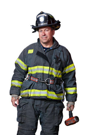 fireman: Firefighter Portrait Standing with Hammer Serious Looking Portrait Isolated on White Background