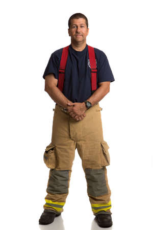 Firefighter Standing Full Body Length Portrait Isolate on Withe Background photo