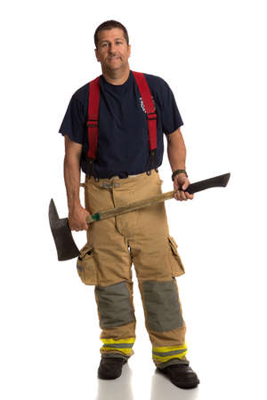 Firefighter Standing Holding Ax Full Body Length Portrait Isolate on Withe Background photo