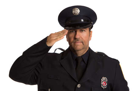 Salute Firefighter Standing Half Body Length Portrait Isolate on Withe Background photo