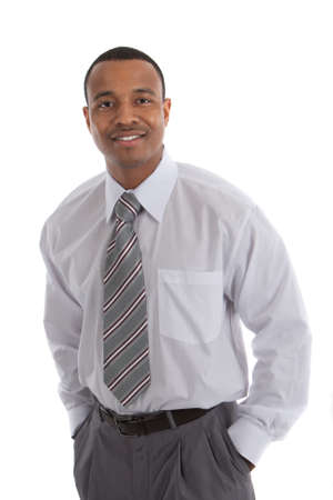 Natural Looking Smiling Young African American Male Businessman on Isolated Background photo